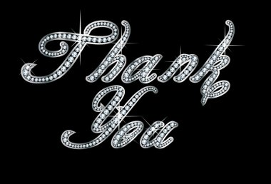 Thank You in Script Diamond Bling Letters