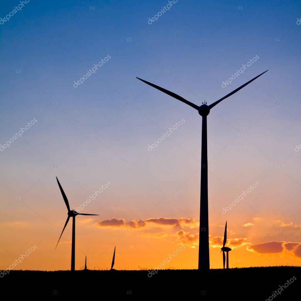 Windmills with sunset