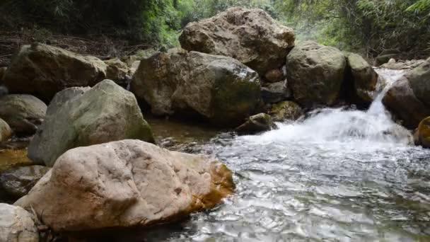 Flowing creek in stony valley