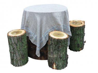 Garden furniture made from wooden log isolated