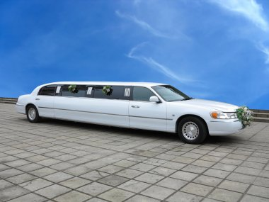 White wedding limousine for celebrities and events