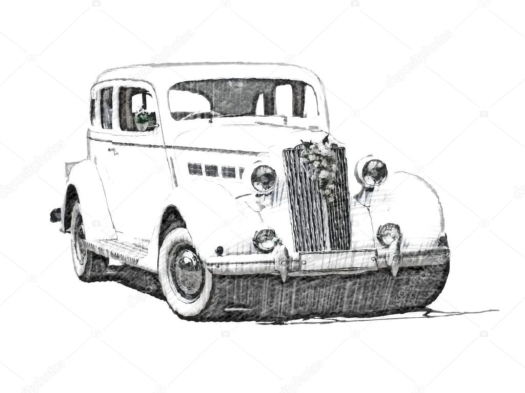 Sketch Retro Vintage White Luxury Car Stock Photo C Arogant 21678635