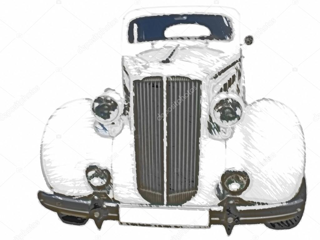Sketch Retro Vintage White Luxury Car Stock Photo C Arogant 26163629