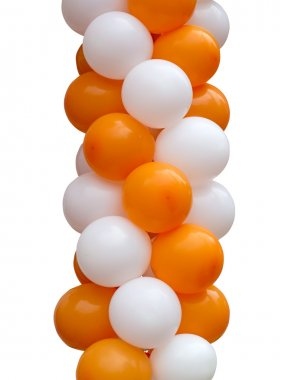 Orange and white balloons isolated on white