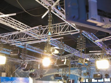 Television studio light equipment, spotlight truss, cables,  mic