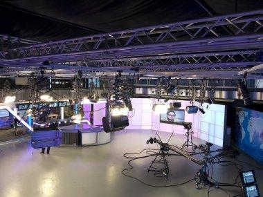 Television studio equipment, spotlight truss, professional cameras and so on stock vector