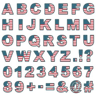 stitched usa alphabet