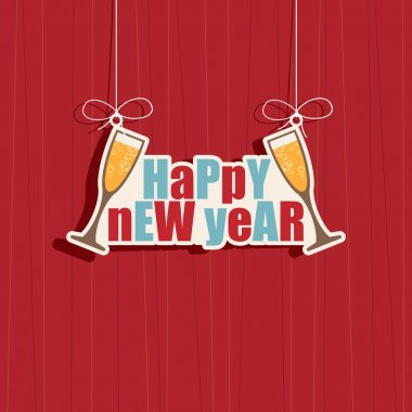 Hanging happy new year decoration on red background, eps 10 format with transparencies. stock vector
