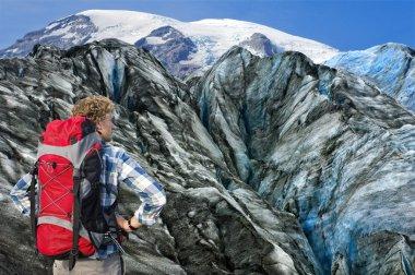 Mountaineer facing his challenge