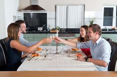 Friends enjoying dinner at home