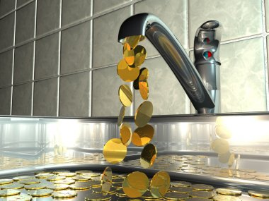 Conceptual illustration of a dripping tap with flowing cash.