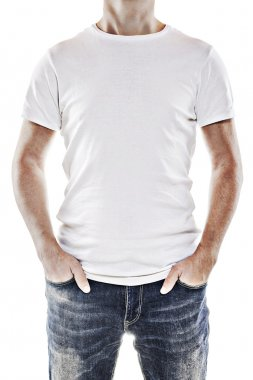Young man wearing a blank white t-shirt