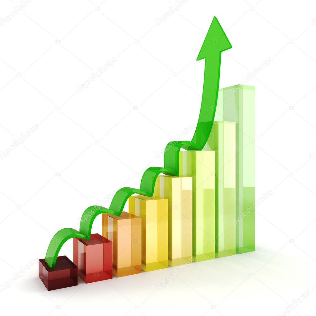 3d shiny colorful business graph on white background