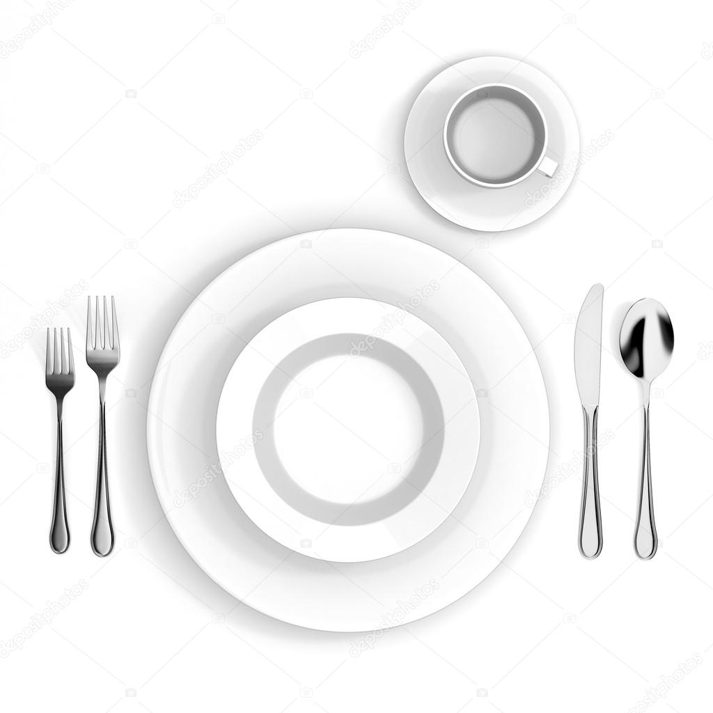3d table setting with white empty plate fork knife and spoon \u2014 Photo by digitalgenetics  sc 1 st  Depositphotos & 3d table setting with white empty plate fork knife and spoon ...