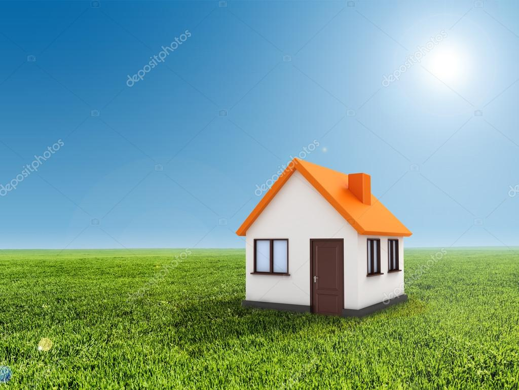 3d house, green grass and clear blue sky