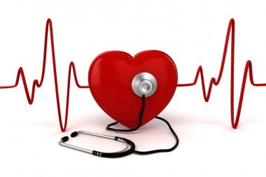 3d big red heart health and medicine concept