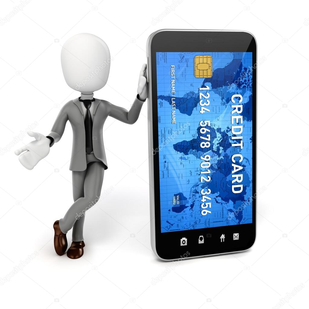 3d man smart phone and credit card online commerce concept stock