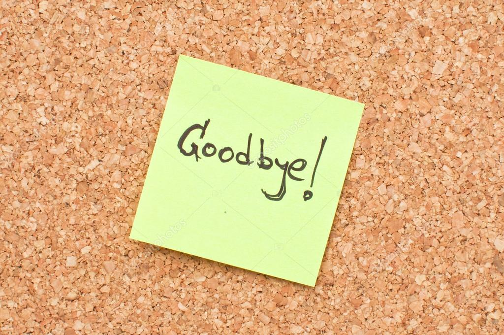 Goodbye Note  Stock Photo  Stevanovicigor