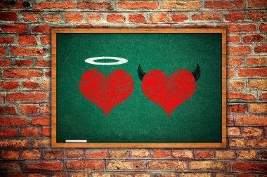 Angel and devil in love, heart drawings on a school chalkboard. stock vector