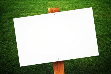 Blank sign on the lawn