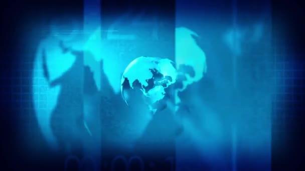 vysílání zpravodajství intro otevření, zeměkoule animovaný rotace země