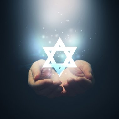 Female hands opening to light and David's star. Jewish religion stock vector