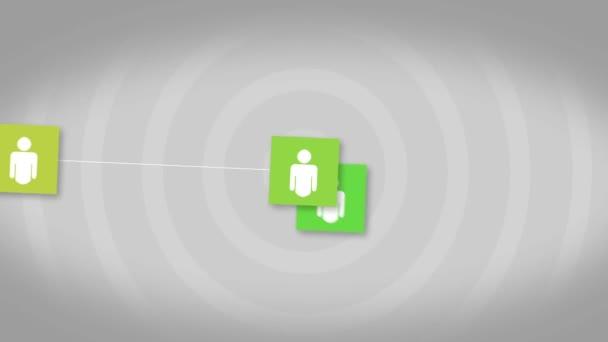 sociální sítě připojení koncepce, animované ikony členů Společenství