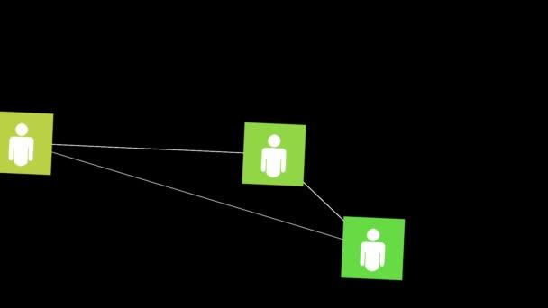 Konzept der sozialen Netzwerkverbindung, animierte Icons der Community-Mitglieder.