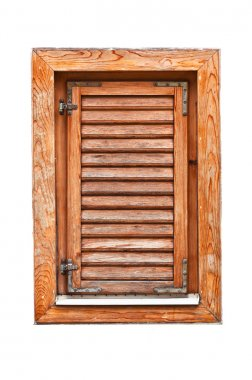 Italian style wooden window with closed shutter blinds