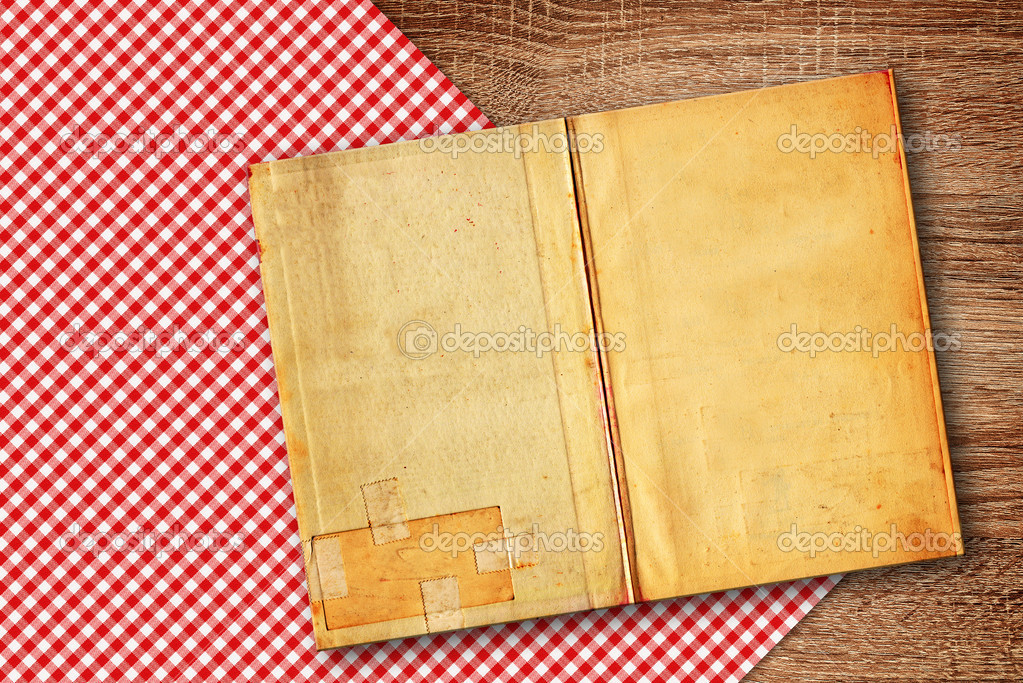 Kitchen Table Background old recipe book on kitchen table — stock photo © stevanovicigor