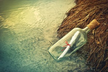 Message in a bottle, conceptual image stock vector