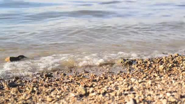břeh řeky s oblázky a vln stříkající vodě