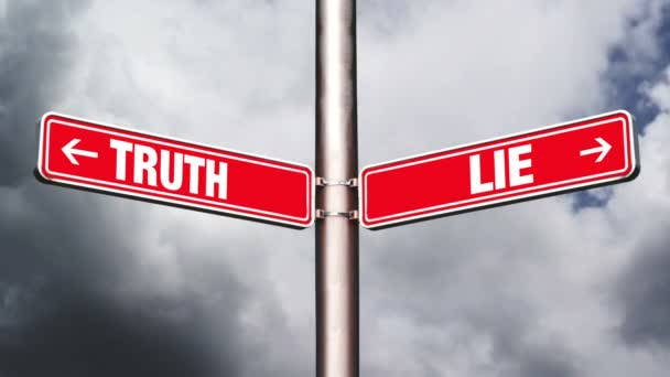 Truth or lie opposite direction signs. Concept of choice. 1920x1080, 1080p, hd footage.