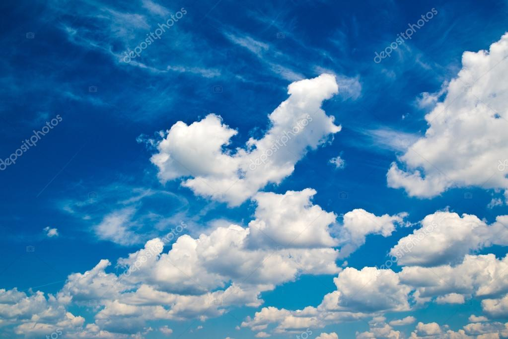 Blue daylight summer sky with white clouds