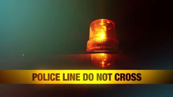 policejní linii nepřecházejí, žlutá čelenka pásky a oranžově bliká a otočné světlo. vražda scény policejní pásky