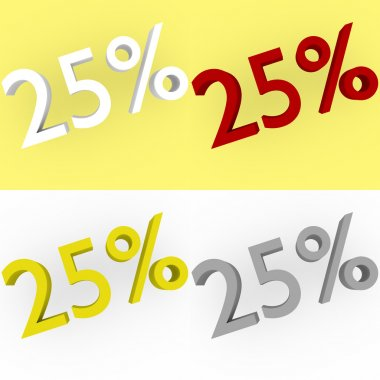 3d Render 25 percent in white, red, silver and gold
