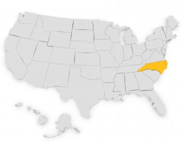 3d Render of the United States Highlighting North Carolina