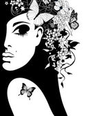 Photo silhouette of a woman with flowers and butterflies, vector illustration