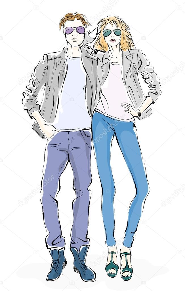 moda hombre y mujer, dibujar sobre un fondo blanco — Archivo ...