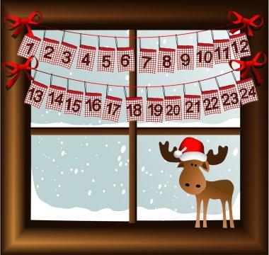 Christmas window with advent calendar