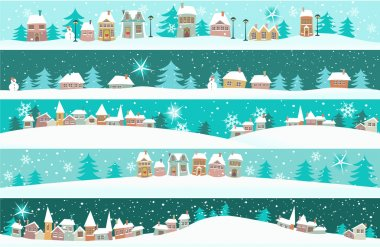 Five winter banners with small houses - cartoon holiday background. stock vector