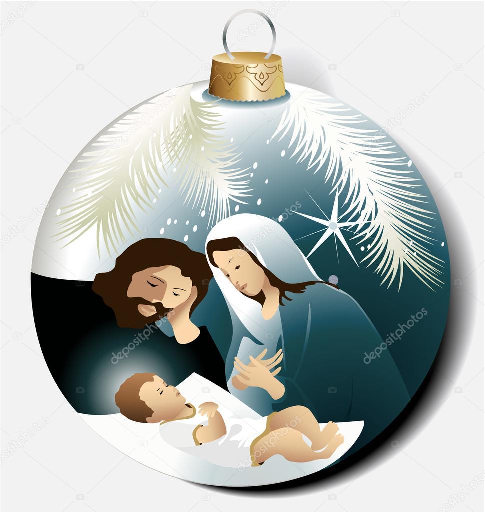 Immagini Di Natale Con Sacra Famiglia.Vettore Sacra Famiglia Divertenti Palla Di Natale Con