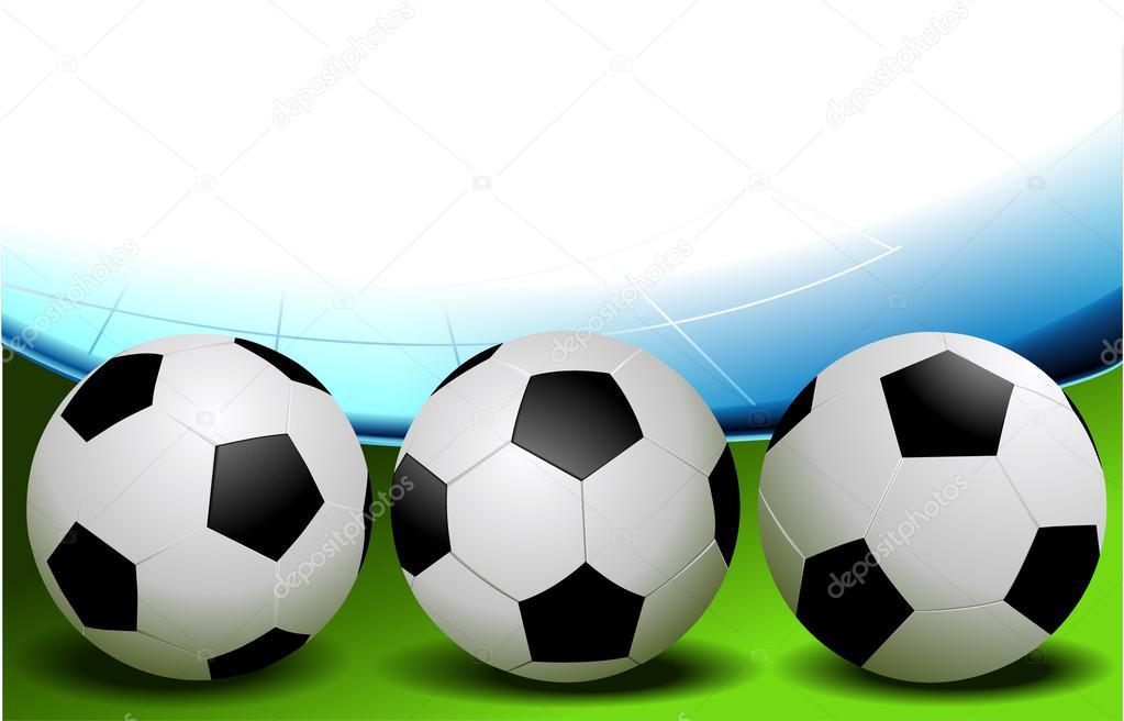 de102169a5870 Tres pelotas de fútbol en diferentes posiciones - fotos  bolas de futbol —  Vector de ...