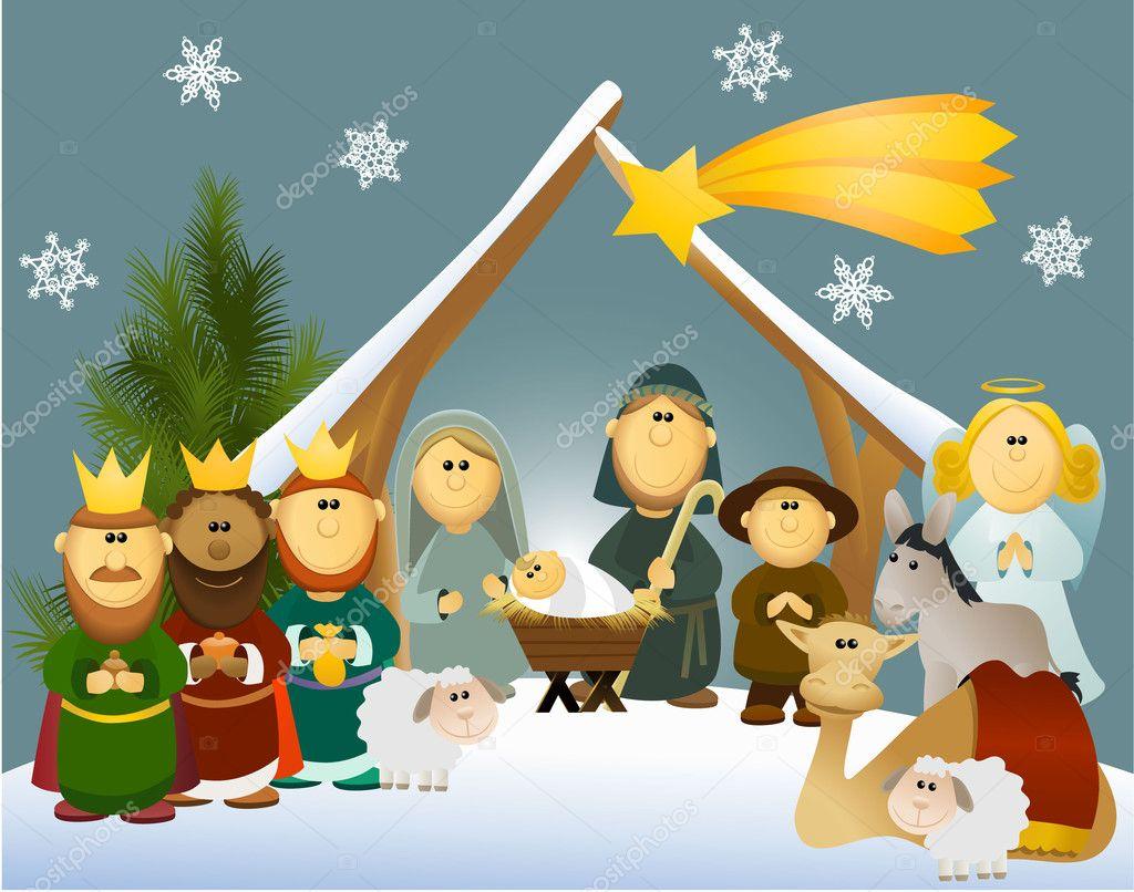 Presépio dos desenhos animados com sagrada família — vetor