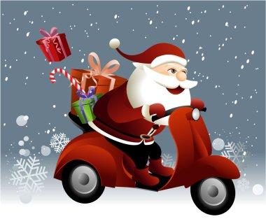 Santa Claus riding a scooter