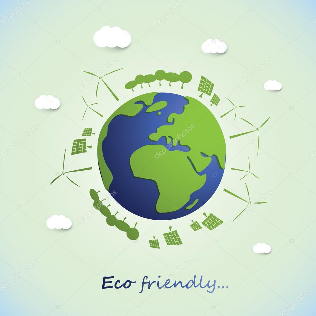 Environmentally Friendly Planet - Vector Illustration