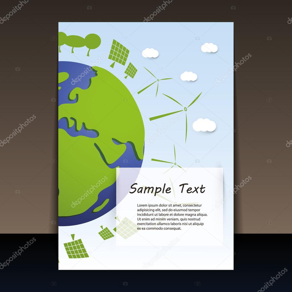 Environmentally Friendly Planet - Flyer Vector Illustration