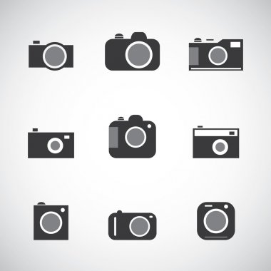 Set of Black and White Camera Icons