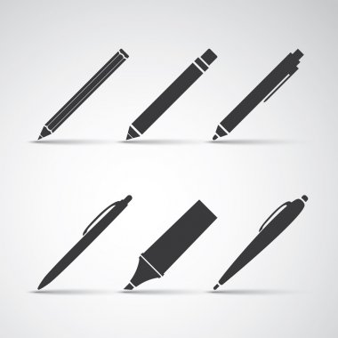 Set of Writing Tool Illustrations