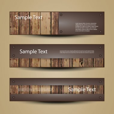 Banner Or Header Designs with Wooden Surface